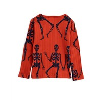 Mini Rodini Skeleton amp LS tee red