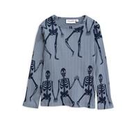 Mini Rodini Skeleton aop LS tee blue