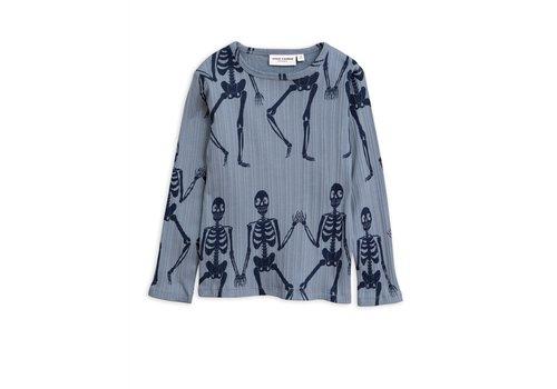 Mini Rodini Mini Rodini Skeleton aop LS tee blue