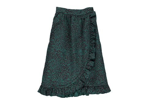 PIUPIUCHICK Piupiuchick Long Skirt with frills emerald animal print