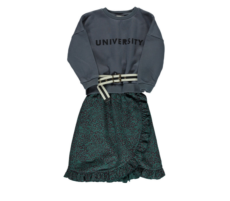 Piupiuchick Long Skirt with frills emerald animal print