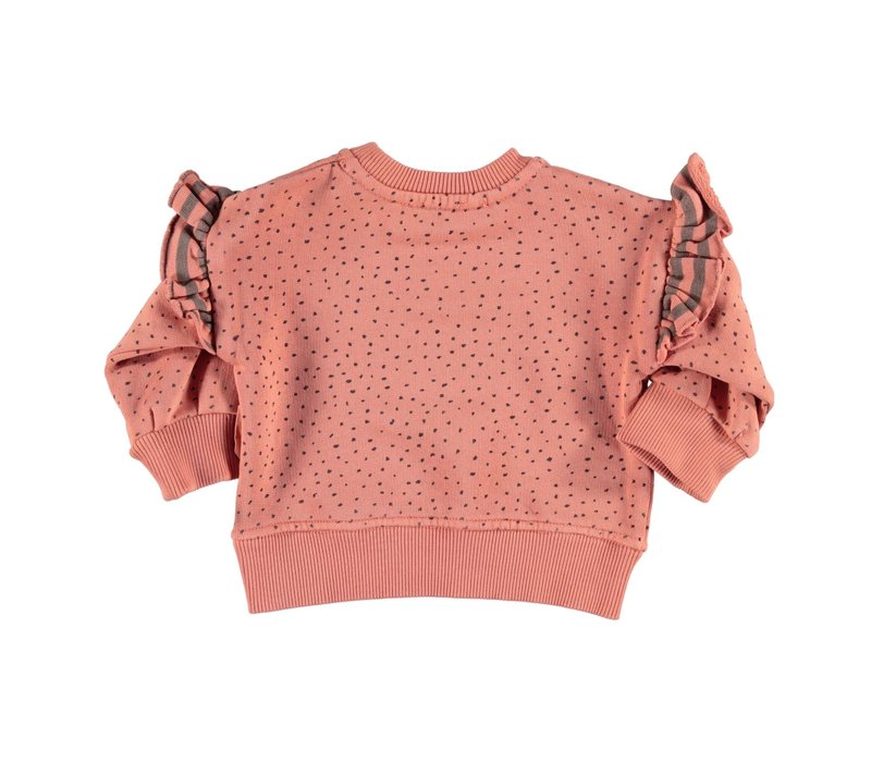 Piupiuchick Sweatshirt Coral with black dots