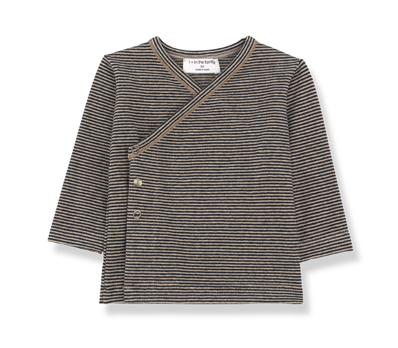 1+ in the family Bruxelles black /beige Newborn Shirt