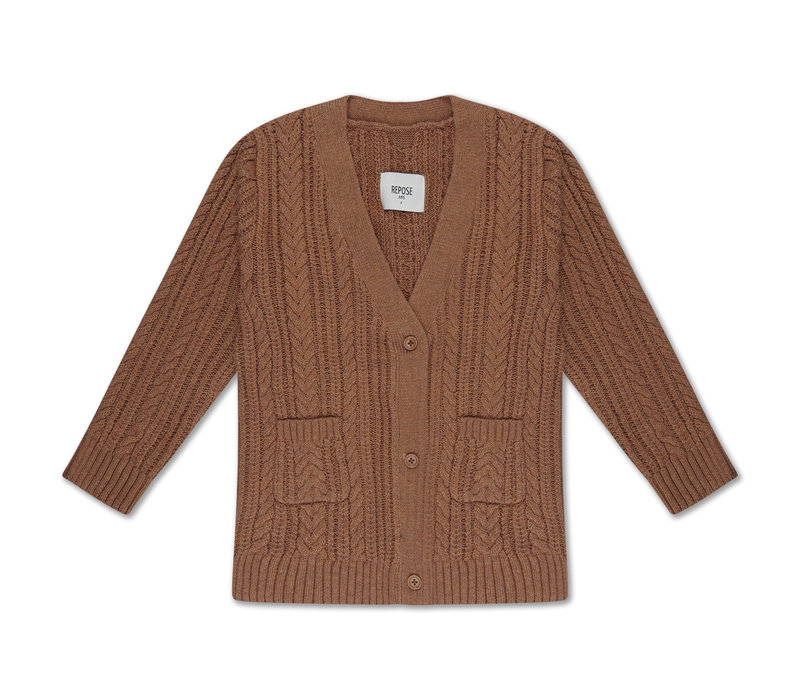 Repose AMS 42. Knit cardigan v neck cable
