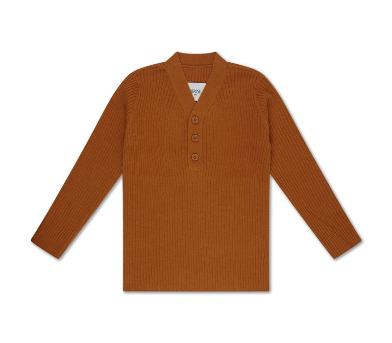 Repose AMS 39. Knit sweater v neck warmed rust