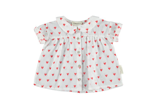 PIUPIUCHICK Piupiuchick Peter Pan color blouse white w/ red heart