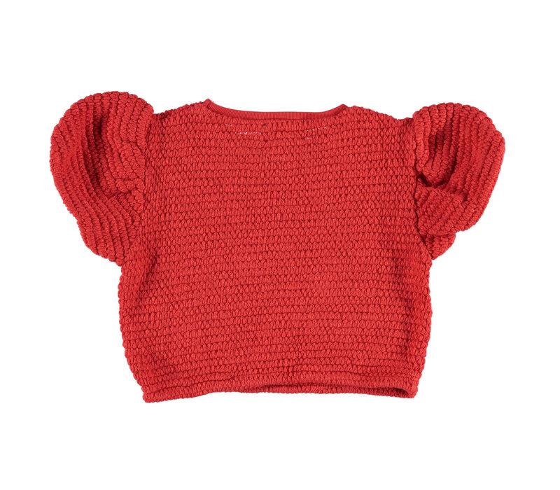 Piupiuchick knitted t'shirt ballon red w/ heart