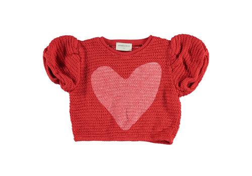 PIUPIUCHICK Piupiuchick knitted t'shirt ballon red w/ heart
