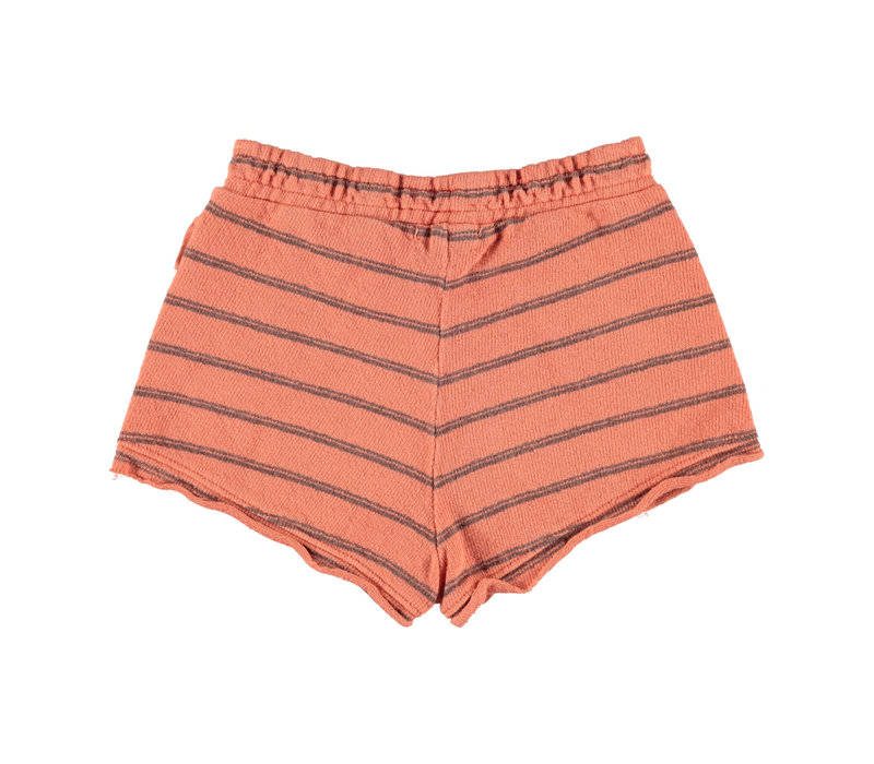 Piupiuchick Shorts coral & grey stripes