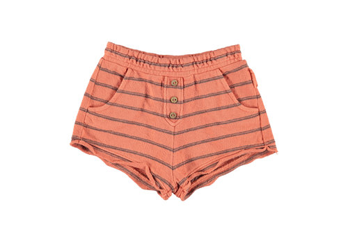 PIUPIUCHICK Piupiuchick Shorts coral & grey stripes