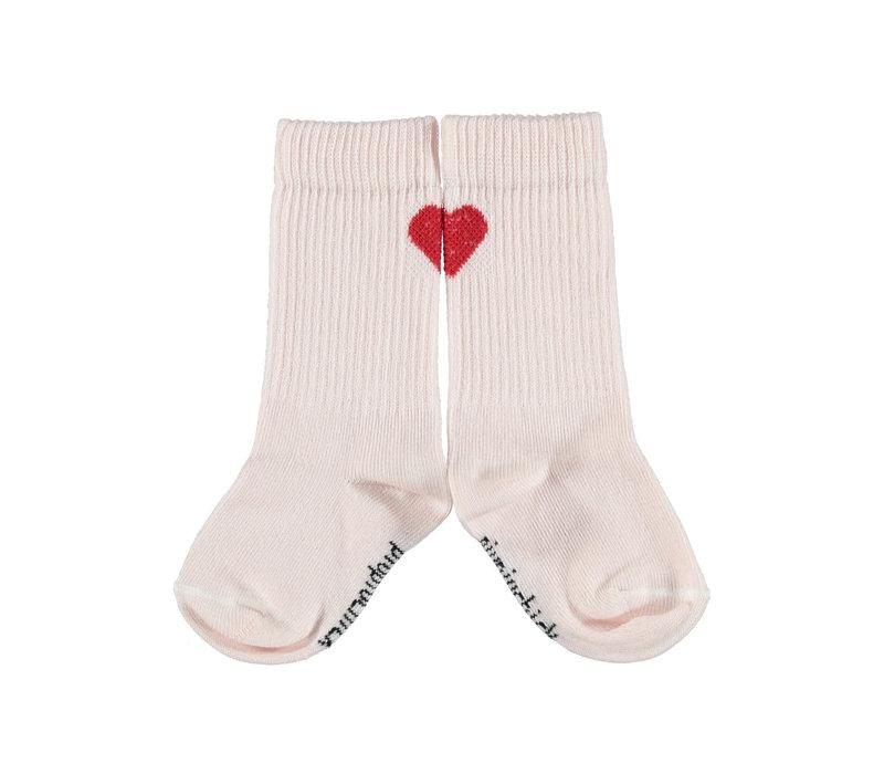 Piupiuchick socks w/ heart pale pink