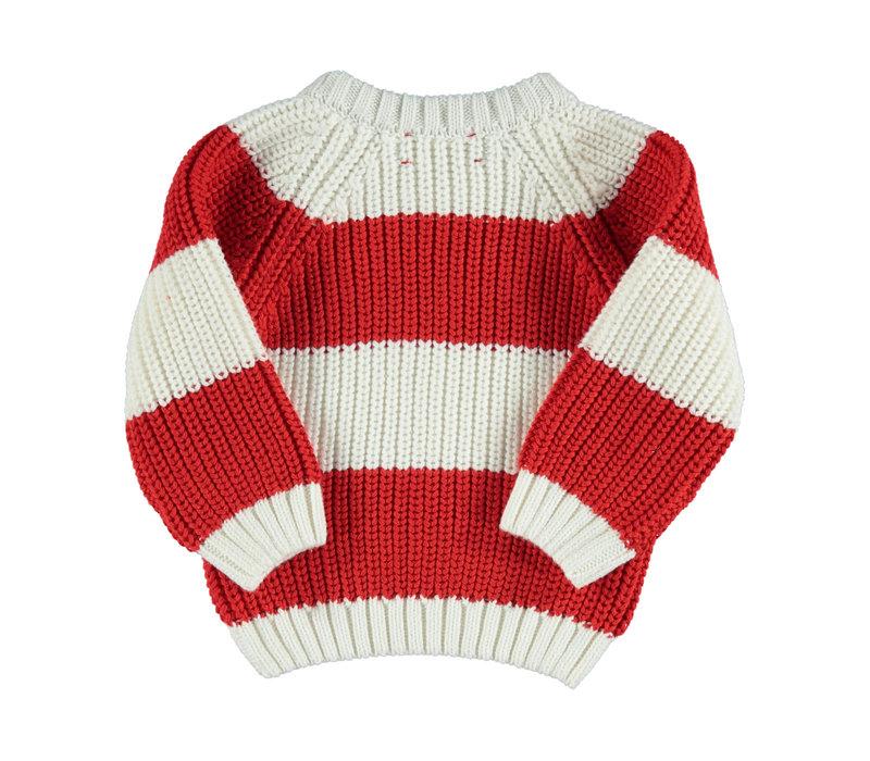 Piupiuchick knitted sweater red & white