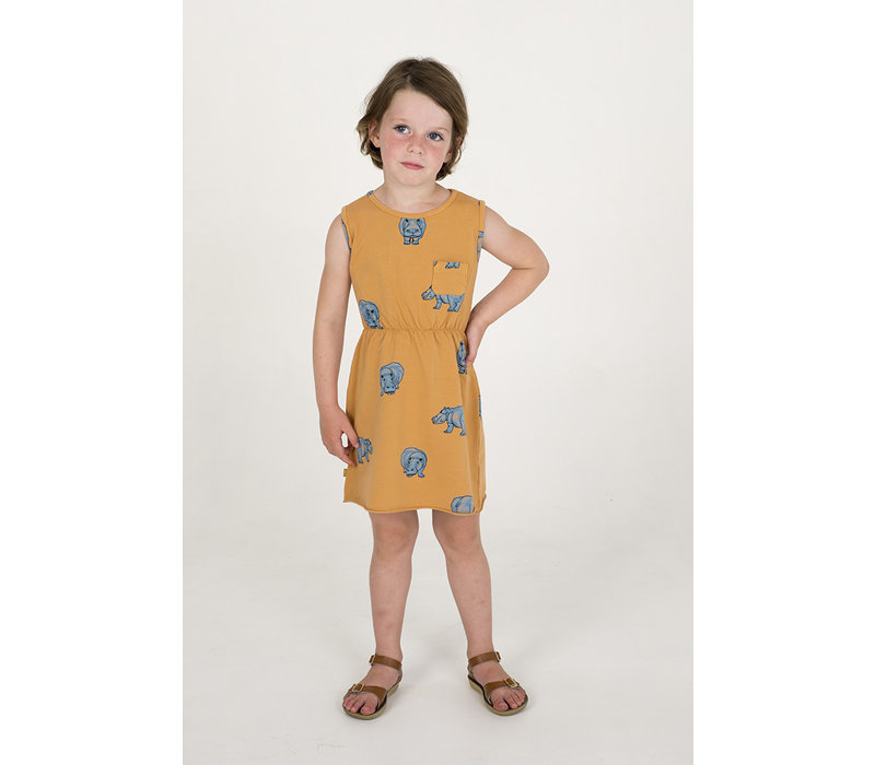 Lotiekids Dress Sleeveless Hipoppotamus Peach