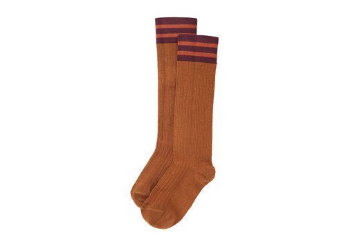 Mingo Mingo Knee socks Caramel/ Plum