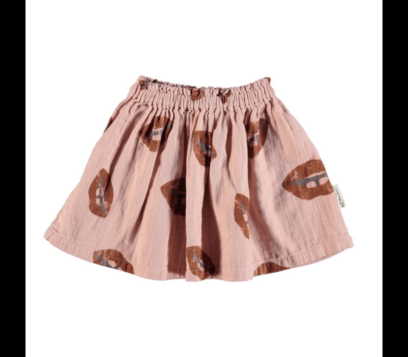 Piupiuchick Short skirt Pale pink w/ lips allover
