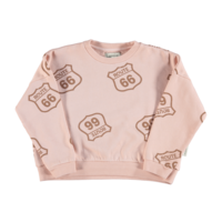 Piupiuchick Sweatshirt | Pale Pink w/ route 66 allover