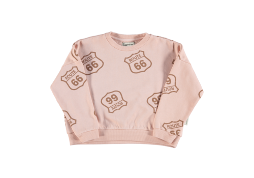 PIUPIUCHICK Piupiuchick Sweatshirt | Pale Pink w/ route 66 allover
