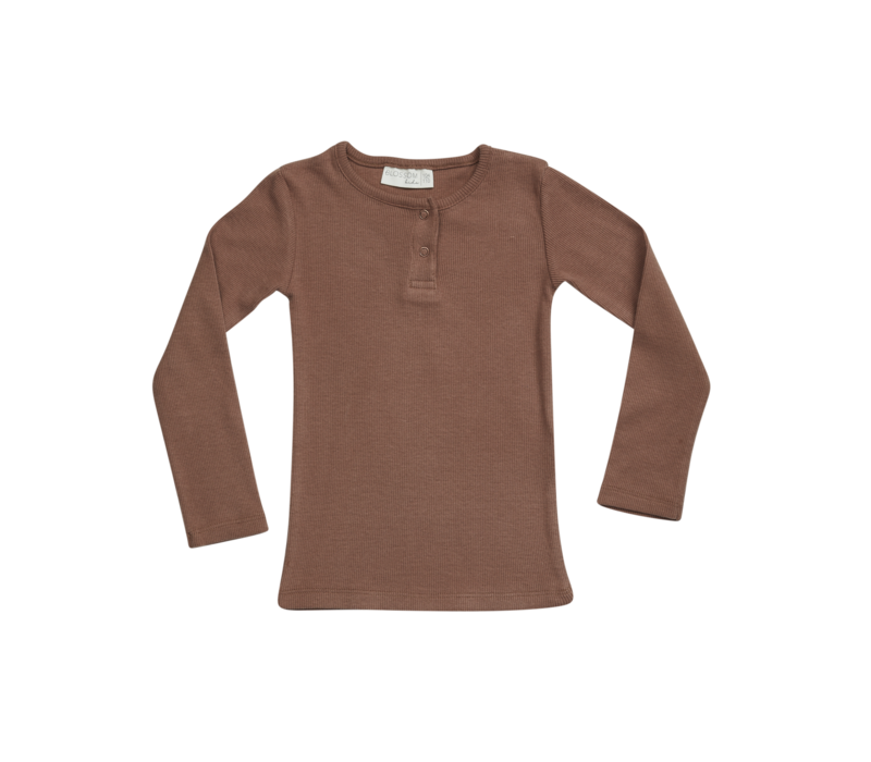 Blossom Kids Long sleeve rib henley Smoked Hazelnut