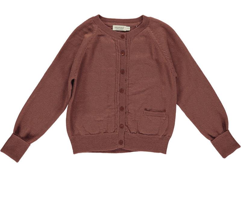 MarMar Copenhagen_Tillie cotton wool cardigan_Dark Brick
