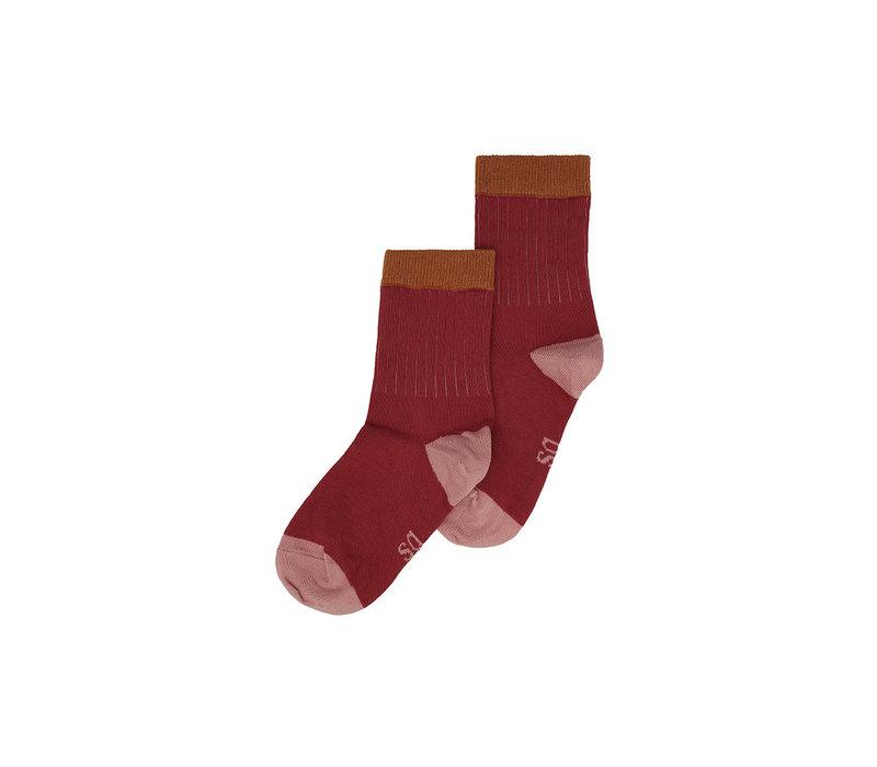 MP Denmark & Soft Gallery Socks Red Okker