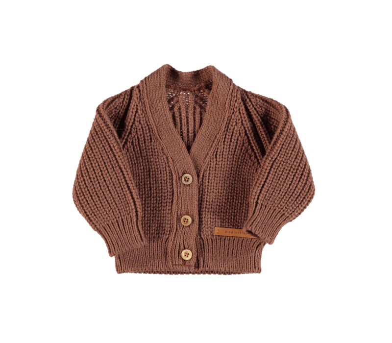Piupiuchick Knitted v-neck Jacket | Pecan nut w/ embroidery