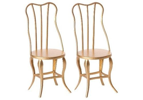 Maileg Maileg House of miniature Vintage chair micro gold, 2 pack