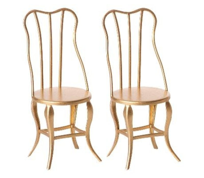 Maileg House of miniature Vintage chair micro gold, 2 pack