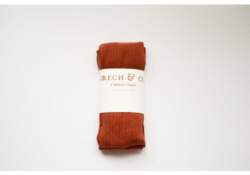 Grech & Co Grech & Co _ Children's Organic Cotton Tights_ Rust