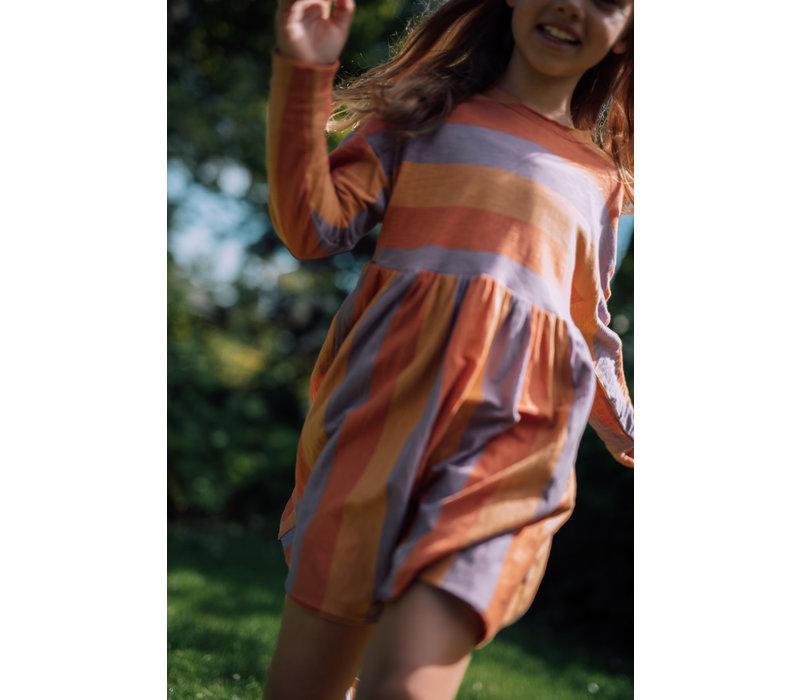 Repose AMS 20. Simple Dress SS Peachy Lavender Block Stripe