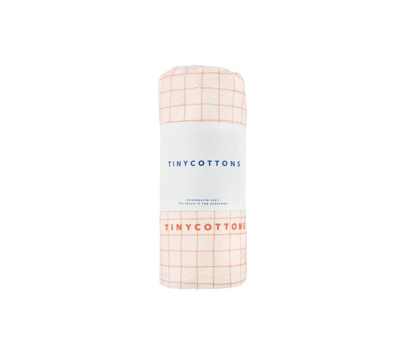 TINYCOTTONS_SS21-438 _GRID TOWEL *light cream/nut brown*