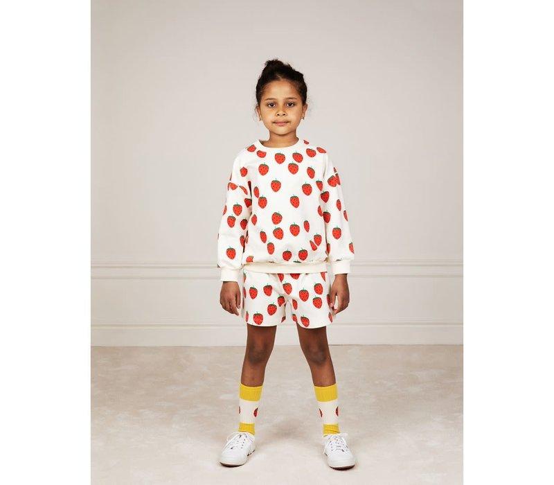 Mini Rodini Strawberry aop sweatshirt Offwhite