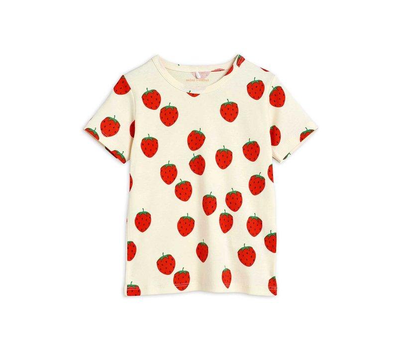 Mini Rodini Strawberry aop ss tee Offwhite