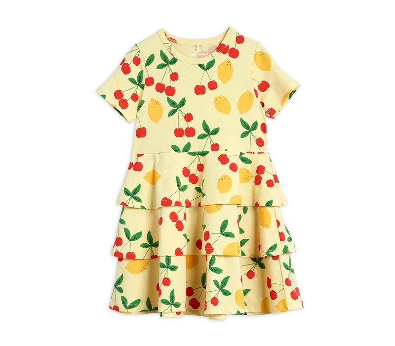 Mini Rodini Cherry Lemonade aop ss Dress Yellow