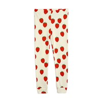 Mini Rodini Strawberry aop Leggings Offwhite
