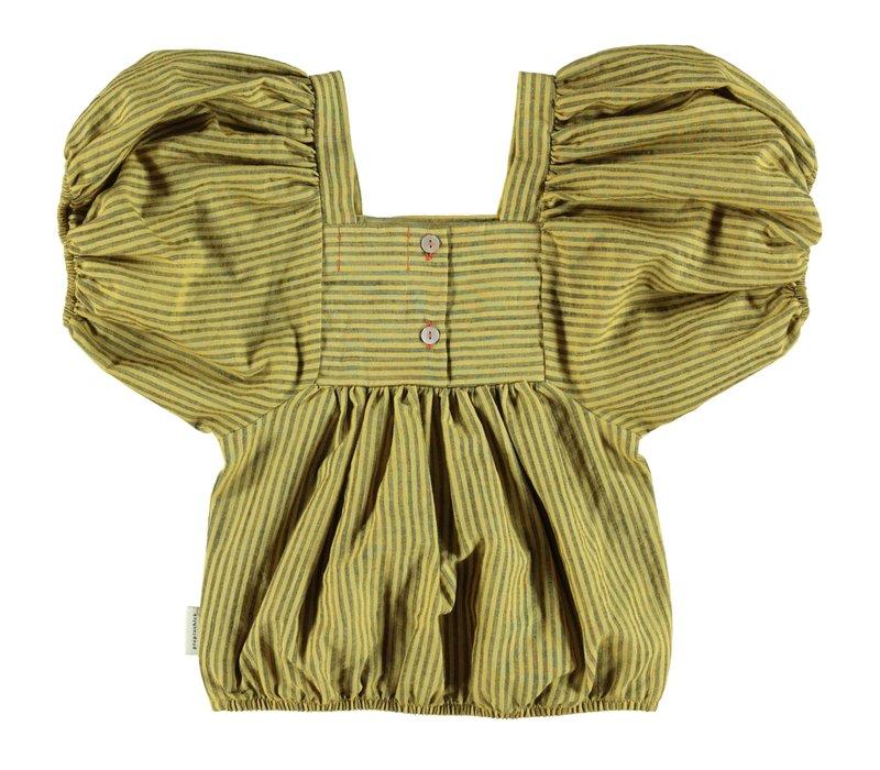 Piupiuchick Top w/ ballon sleeves / yellow w/ dark grey
