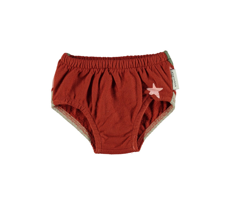 Piupiuchick High waisted shorties garnet w/ tricolor print
