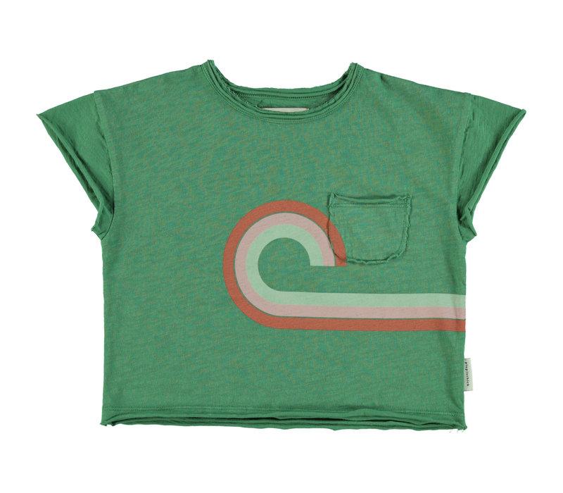 Piupiuchick T-shirt green  w/ multicolor print