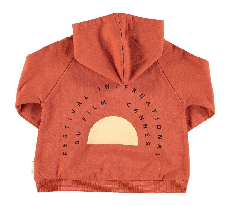 Piupiuchick Hooded sweater garnet w/ print