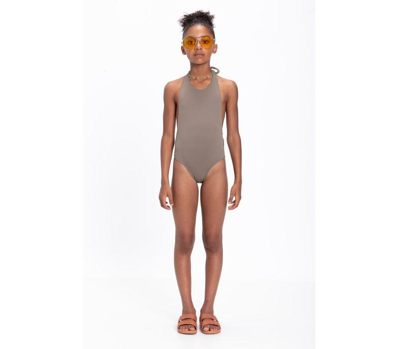 Piupiuchick Swimsuit w/back bow taupe