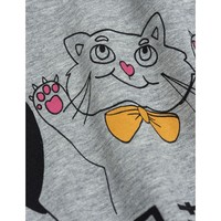 Mini Rodini Cat and Panda ss tee Grey Melange