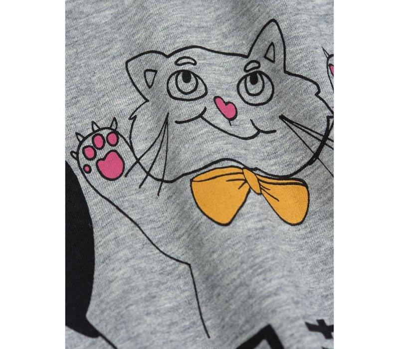 Mini Rodini Cat and Panda ss tee Grey Melange
