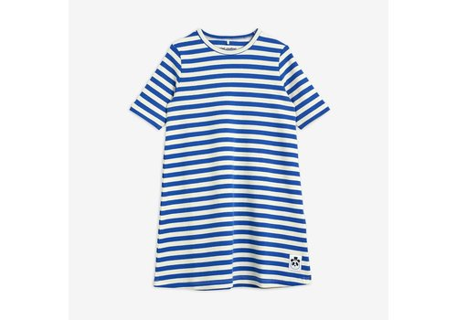 Mini Rodini Mini Rodini Stripe rib ss dress Blue