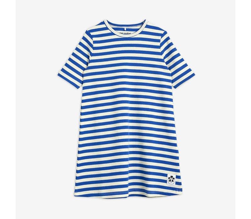 Mini Rodini Stripe rib ss dress Blue