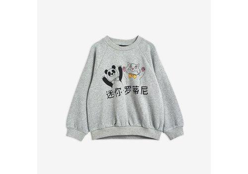 Mini Rodini Mini Rodini Cat and Panda sweatshirt Grey Melange