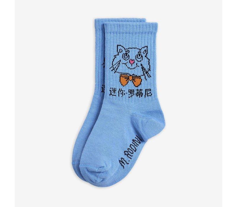 Mini Rodini Cat Socks Light Blue