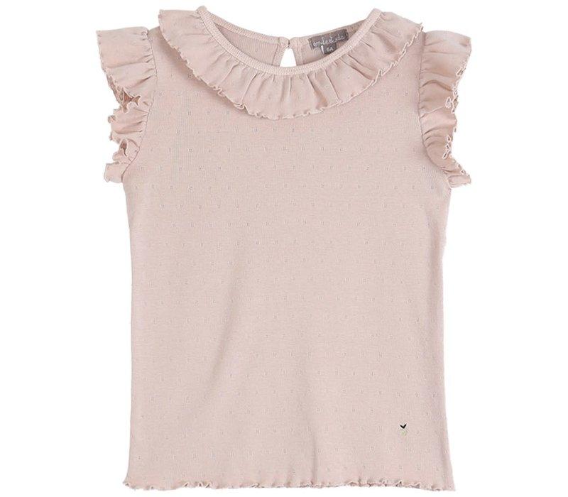 Emile et Ida Openwork Pink Girl Tee Shirt