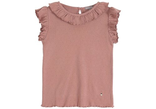 Emile et Ida Emile et Ida Openwork Dark Pink Girl Tee Shirt