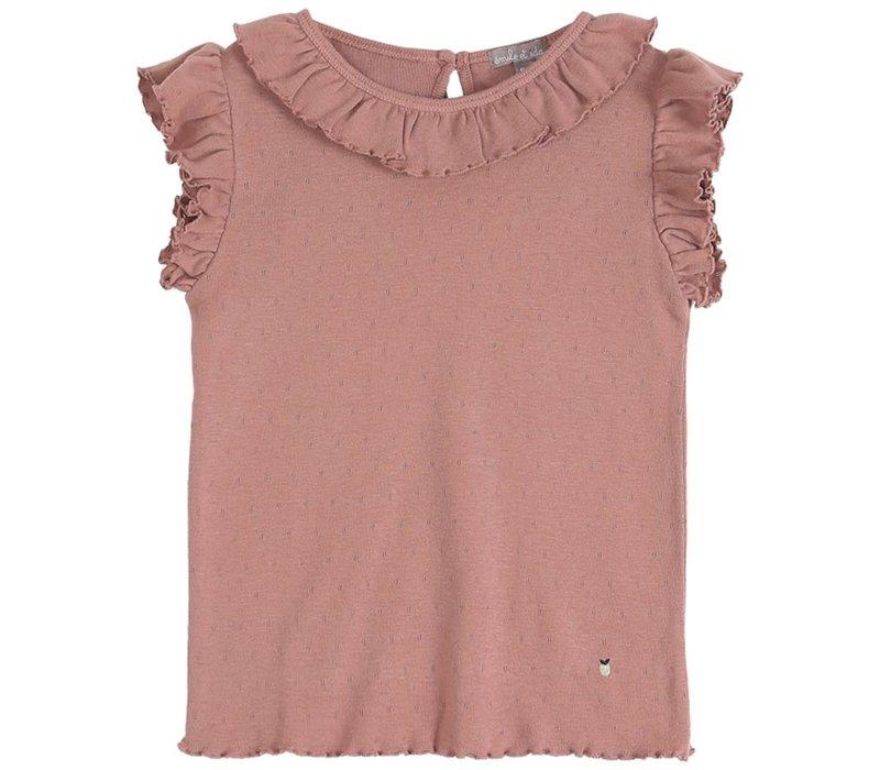 Emile et Ida Openwork Dark Pink Girl Tee Shirt