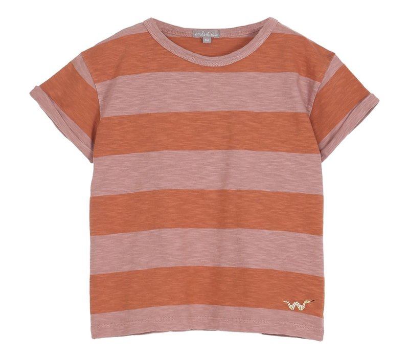Emile et Ida Tee Dark Pink and Orange Striped