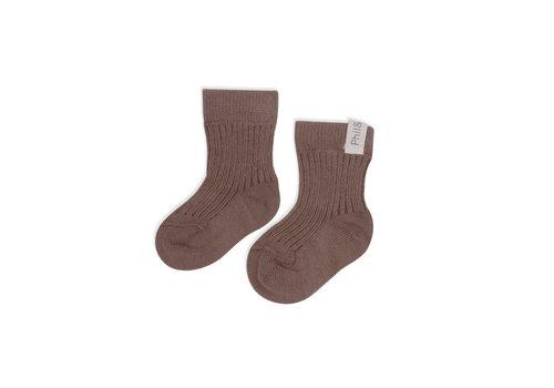 Phil&Phae Phil&Phae Ribbed baby socks heather